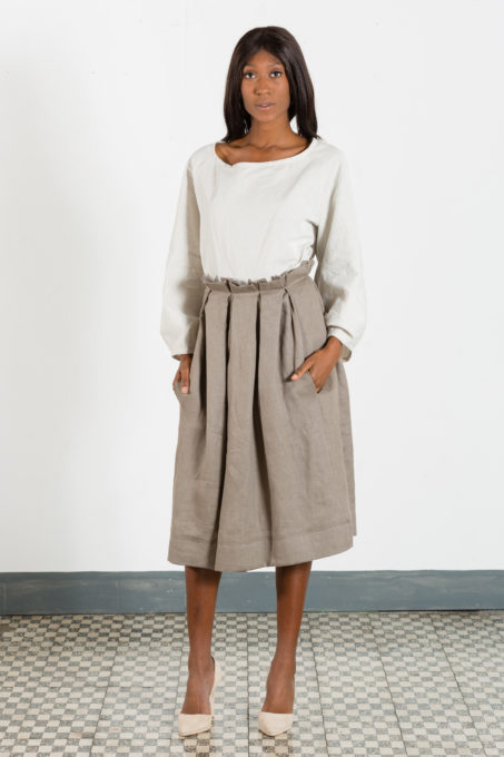 Dove Grey Pleats Skirt