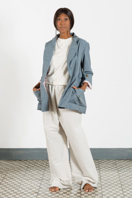 Blazer Over Gather Woman